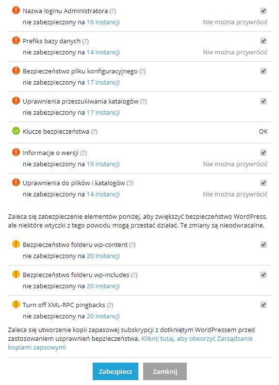 WordPress Hosting zabezpieczenia